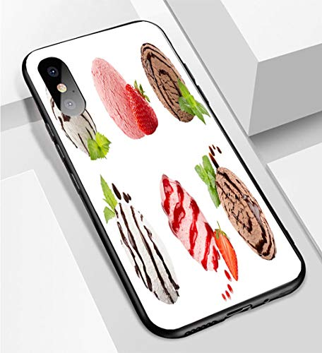 (iPhone X/XS Ultra-Thin Phone case Ice Cream Scoops Collection of six Balls Decorated Striped Chocolate Sauce Mint Leaves Slice Strawberry Isolat Anti-Drop Anti-Slip Soft Convenient Protective Shell)