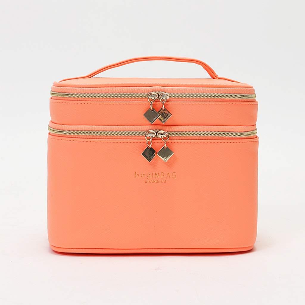 化粧品バッグポータブル、PU化粧品収納ボックス、ミラー付き2層化粧品バッグ、大容量収納ボックス (色 : Orange)  Orange B07MKC14KJ