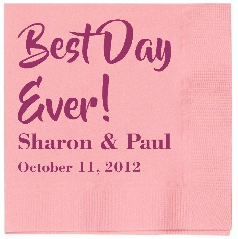 The Spoiled Office ''Best Day Ever'' Personalized Wedding Napkins 2,500 Count by The Spoiled Office