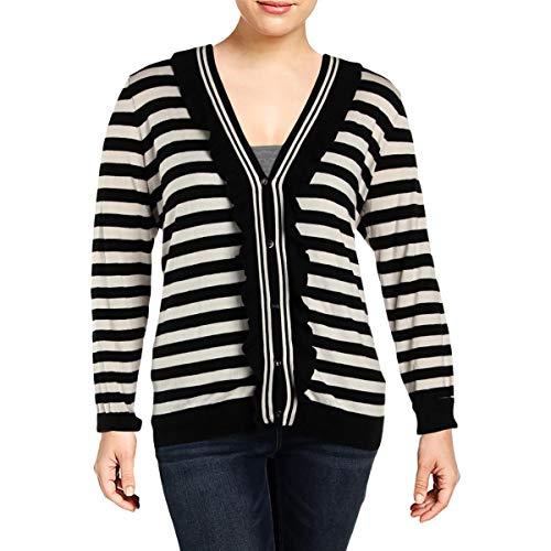 - LAUREN RALPH LAUREN Womens Plus Striped Ruffled Cardigan Sweater Black-Ivory 1X