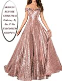 YIRENWANSHA 2019 Off Shoulder Prom Dress for Women Long Sequin Manual Beaded Formal Gown SHPD41
