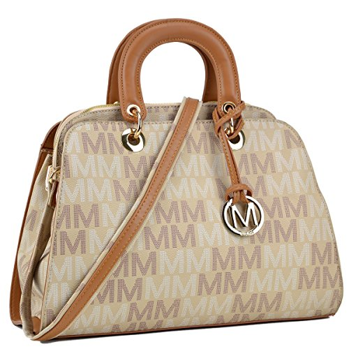 MMK Collection Monogram Logo Vegan Leather Semi Dome Shape Women Multi-Functional Satchel and belted Tote with Open Side Pockets (ML-MU6346-TP) (Belted Pocket Handbag Tote)