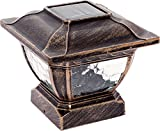 Paradise by Sterno Home Solar Cast Aluminum LED Post Cap Light for 4×4 Wood Posts, Bronze (Crystalline Solar Panel,