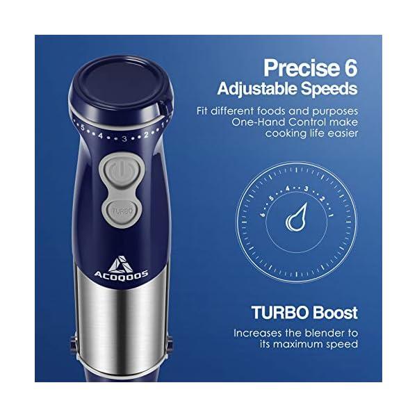 ACOQOOS Frullatore a Immersione, Minipimer 1000W, Mixer a Immersione 4 in 1, 6 Velocità Regolabile, Acciaio Inossidabile… 2