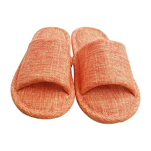 Eastlion Women's & Men's Simple Flax Anti-Skid Seasonal Home Indoor Slippers Shoes Orange SSfCY9Sky