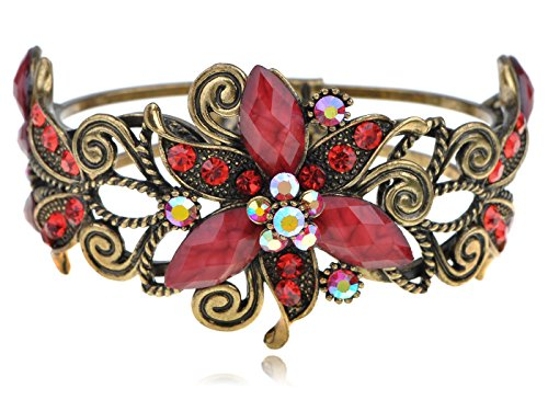 Alilang Womens Antique Golden Tone Red Rhinestone Floral Lily Poinsettia Flower Bangle Cuff Bracelet