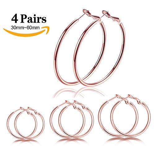 LOLIAS 4 Pairs Round Hoop Earrings for women Stainless Steel Rose Gold Large Hoop Earring set