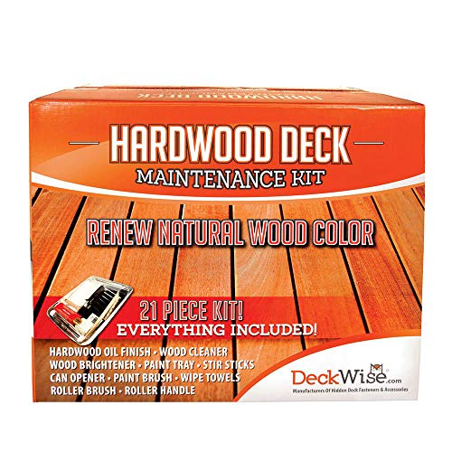 DeckWise Ipe Oil Hardwood Deck Finish Deck Restoration Kit with 21 Piece Application Tray, Roller and Tools for Hardwood and Thermal Wood Decking (1 kit)