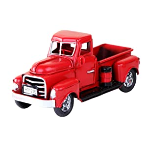 Aytai Red Metal Truck Christmas Vintage Red Trucks, Handmade Vintage Car for Gift/Kids