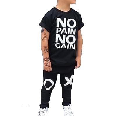 44769c8051c46 2PCS Ensemble de Vêtements pour Bébé Garçon Enfants   NO PAIN NO GAIN