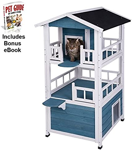 Cat House Multi Level Indoor Outdoor Use Weather Treated Suitable For Homes With Multiple Cats Amazon Co Uk Pet Supplies
