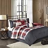 California King Size Bed Dimensions in Feet Madison Park Ridge Cal King Size Bed Comforter Set Bed in A Bag - Red, Plaid – 7 Pieces Bedding Sets – Ultra Soft Microfiber Bedroom Comforters