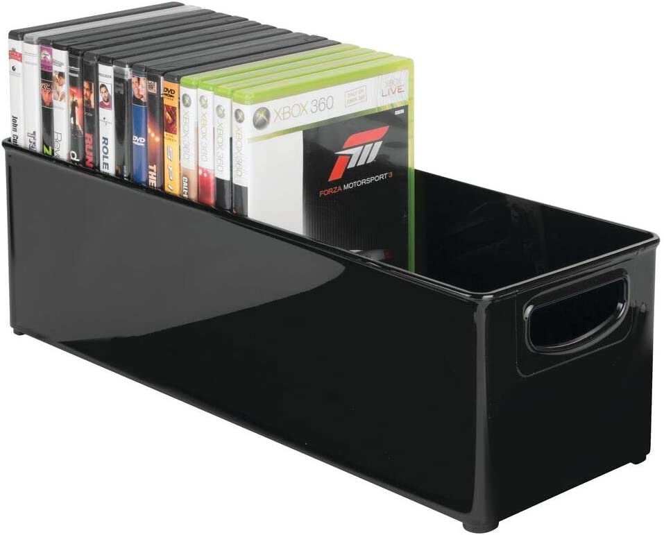 mDesign DVD Storage Container - Plastic DVD Holder with Handles - DVD Storage Box for DVDs, CDs and Video Games - Black