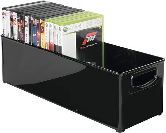 mDesign caja de almacenaje para CDs - Archivador para DVD, CDs o videojuegos - Porta CD color negro con asas integradas: Amazon.es: Hogar