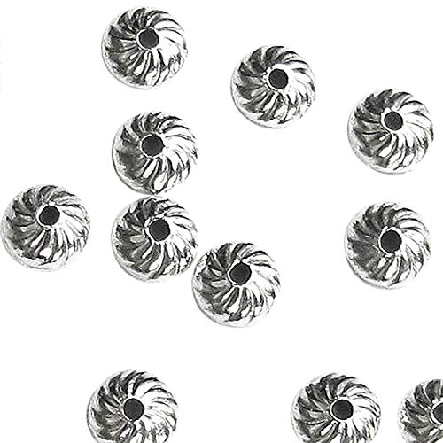 (30 pcs .925 Sterling Silver Round Swirl Flower Bead Cap 4mm / Findings/Bright)
