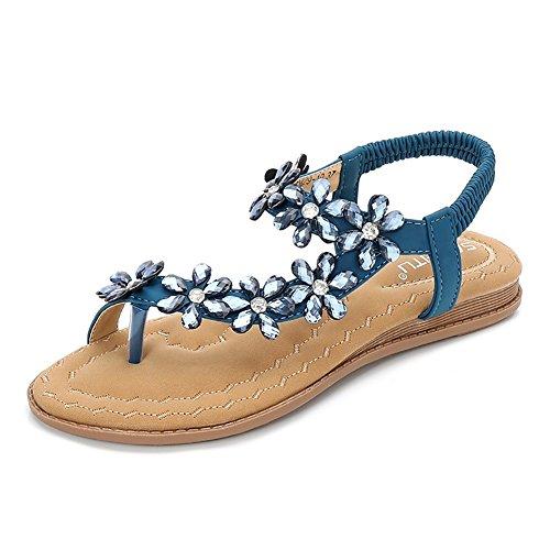 Wollanlily Women Summer Beach Bohemia Flat Sandals Rhinestones Flower Ankle Strap Flip-Flop Shoes(9.5 B(M) US,Blue)