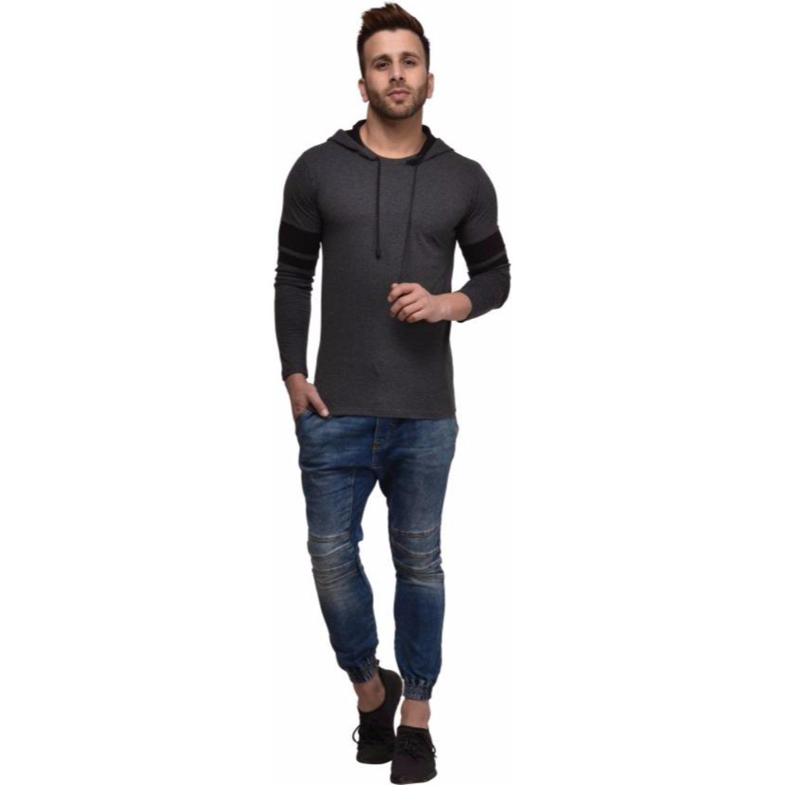 ddc4605eafee Kay Dee Solid Men s Hooded Grey T-shirt  Amazon.in  Clothing   Accessories