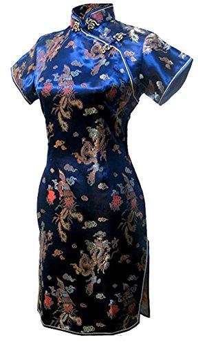7Fairy Women's Vtg Navy Blue Dragon Mini Chinese Prom Dress Cheongsam Size 18 US Knee Length Silk Bridesmaid Dress