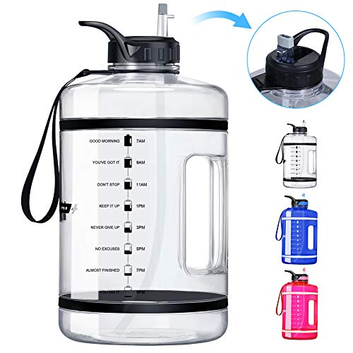 🥇 VUP 1 Gallon/128oz Motivational Water Bottle with Time Marker & Straw