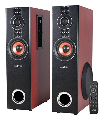 beFree Sound BFS-T110W 2.1 Channel Powered Bluetooth Dual Wood Tower Speakers with Optical Input by BEFREE SOUND