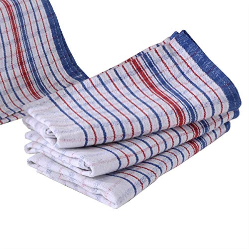 (Size Plus More Bulk 10 Pcs Set, Commercial Grade Vintage Tea Towels, Dish Cloth, Heavy Duty, 100% Cotton, Momi Check Linen, 31x18inches, Bigger, Thicker, Better)