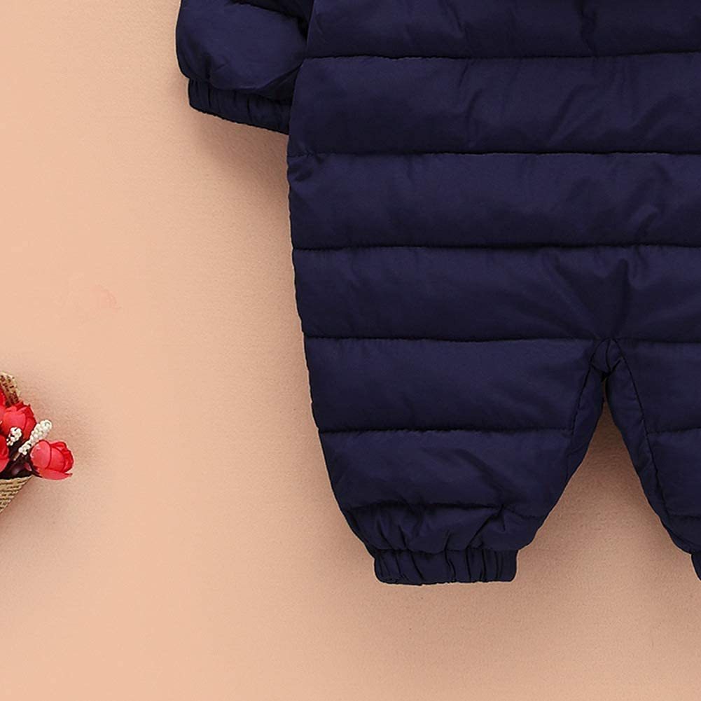 Simplee kids Unisex Onesie Baby Romper Toddler Warm Outwear Winter Coat Double Zipper Baby Hooded Snowsuit for 3-24 Months