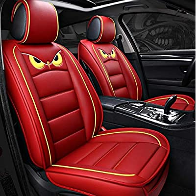 WAZA Seat Covers 5 Seats Cars PU Leather Series Universal Fit Full Set Seat Covers Protectors Red: Automotive