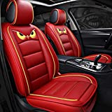 WAZA Seat Covers 5 Seats Cars PU Leather Series Universal Fit Full Set Seat Covers Protectors Red