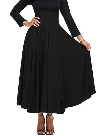 0eecc2810 Lovezesent Women's Retro High Waist Pleated Elegant A-Line Front Slit Swing  Long Maxi Skirt