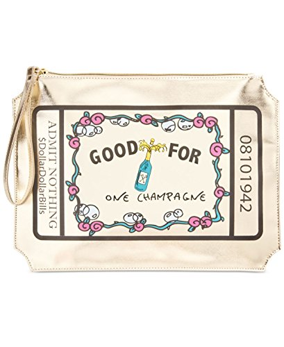 Betsey Johnson Outlet (Betsey Johnson Womens Kitsch Metallic Printed Wristlet Handbag Gold Medium)