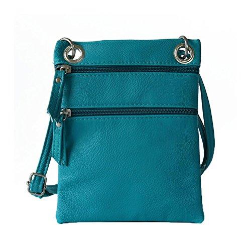 Pocket Crossbody for Bag Donalworld Double Small zip Blue Women Shoulder Purse 866ExYq