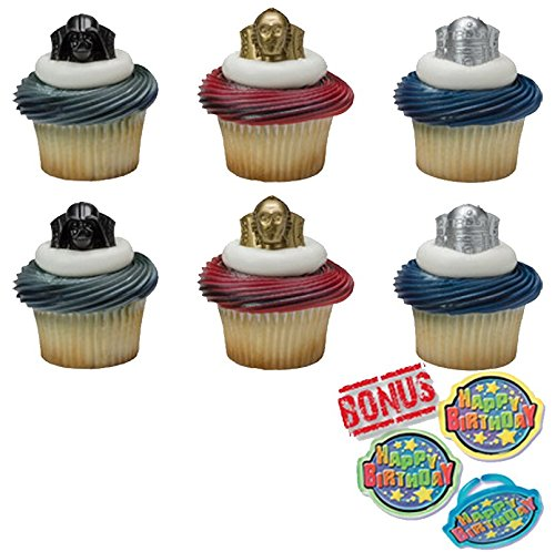 (Star Wars Darth Vader, R2-D2, C-3PO Cupcake Toppers and Bonus Birthday Ring - 25 piece )