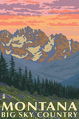Montana Vintage Travel Poster - Montana - Big Sky Country - Spring Flowers (9x12 Art Print, Wall Decor Travel Poster)