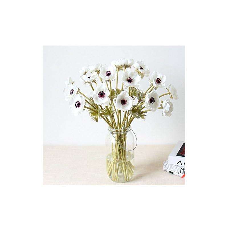 silk flower arrangements lebritamfa 5pcs artifical real touch pu anemone flower bouquet room home decor (white)