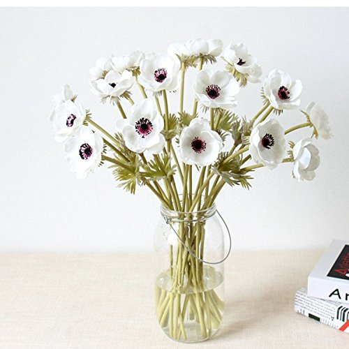5Pcs Artifical Real Touch PU Anemone Flower Bouquet Room Home Decor (White)