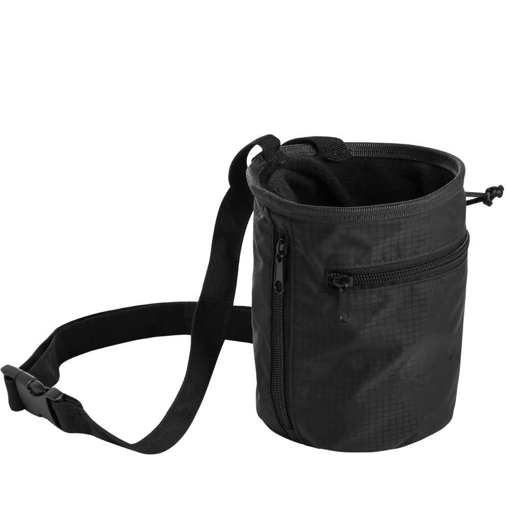 EzGoo Climbing Chalk Bag with Carabiner Belt and Zippered Pocket for Climbing, Gymnastics, Weight Lifting&Bouldering
