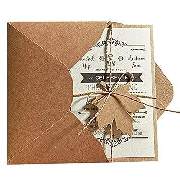 Unquie Wedding Invitations.5x7 Rustic Wedding Invitations Unique Wedding Cards With Invitation Envelope Set Of 50 Pcs
