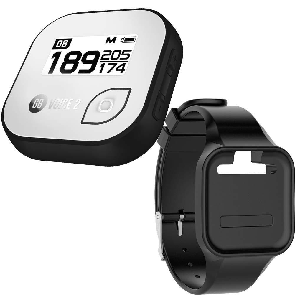 Golf Buddy Bundle Voice 2 Golfbuddy Voice2 Easy-to-Use Talking GPS (White/Black) + Silicon Wristband (Black)