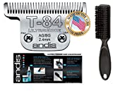 """Andis Equine UltraEdge T-84 Extra Wide Horse Blade for Detachable Blade Clippers Leaves Hairs 3/32"""" - 2.4mm with Bonus Clening Brush"""