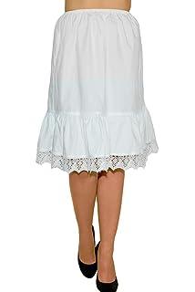 Gr. XS-XXL Trachten Unterrock Vintage mit Spitze wei/ß 63 cm Damen Petticoat