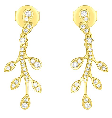 Prism Jewel 0.25Ct G-H/I1 Natural Diamond Olive Leaf Drop Dangling Earrings, 10k Yellow Gold
