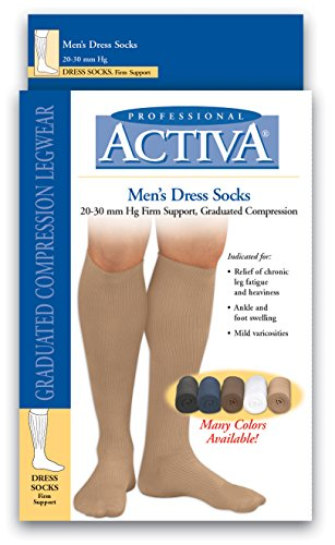 Activa Men's 20-30 Knee High Firm Support Dress Socks White X-Large ()
