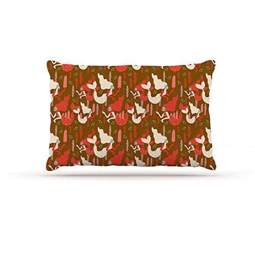 Kess InHouse Akwaflorell Mermaids  Fleece Dog Bed, 50 by 60 , Brown Red