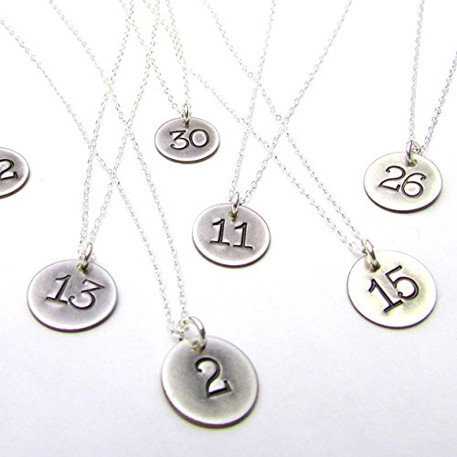 - Lucky Number Necklace | Rustic Sterling Silver Charm | Hand Stamped Silver Pendant | Sports Jewelry