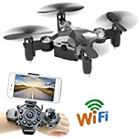 Mini Drone Remote Control by Watch AMENON Wifi RC Quadcopter with 0.3 MP Camera,Headless Mode,3D Rolling,One Key Return RTF UAV FPV Support IOS Android