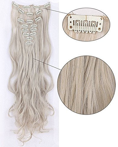 Long 17-26 Inches Straight Curly 8pcs Full Head 18clips Hairpiece Clip in Hair Extensions Cosplay Party Women Hair (Curly - 24