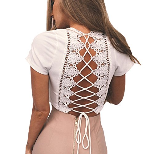 Antopmen Women Sexy Deep V Neck Short Sleeve Back Cross Tied Up Tee Backless Lace Crop Top (Small, White) ()