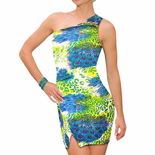Breve Stampa Bodycon Sottile Signore Stampa Clubwear Mini Spalla Vestito Partito Una Eleganti 3 PwIqZxfRZ