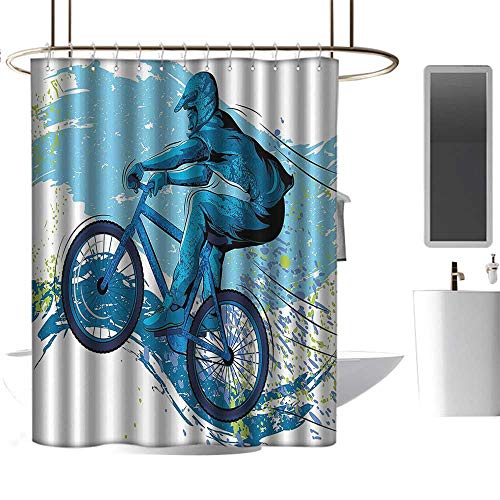 homehot Shower Curtains Tumblr Sports,Concept of Sportsman Cycling on Grungy Background with Color Splashes,Blue Aqua Light Green,W72 x L72,Shower Curtain for Men ()