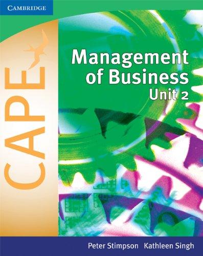 Read Online Management of Business for CAPE (R) Unit 2: Volume 2 (Caribbean) PDF